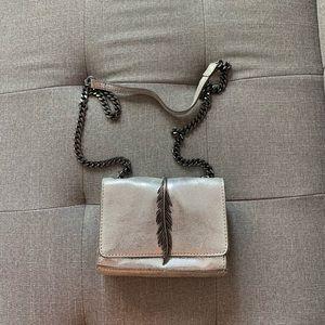 Mini silver crossbody feather bag on chain - Zara